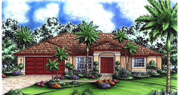 Mediterranean House Plan 60750 with 3 Beds, 2 Baths, 2 Car Garage Elevation