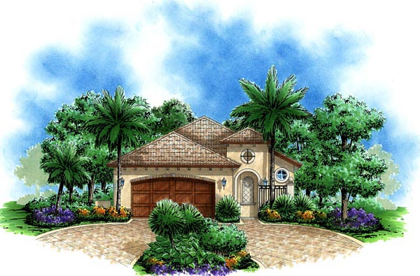 Mediterranean House Plan 60751 with 3 Beds, 2 Baths, 2 Car Garage Elevation