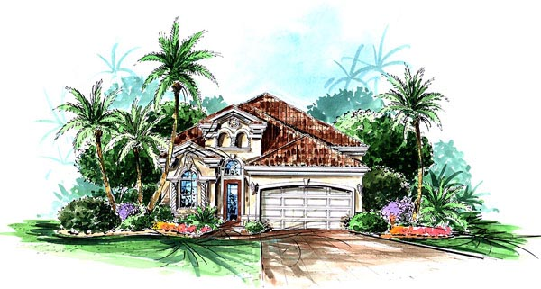 Mediterranean House Plan 60752 with 2 Beds, 2 Baths, 2 Car Garage Elevation