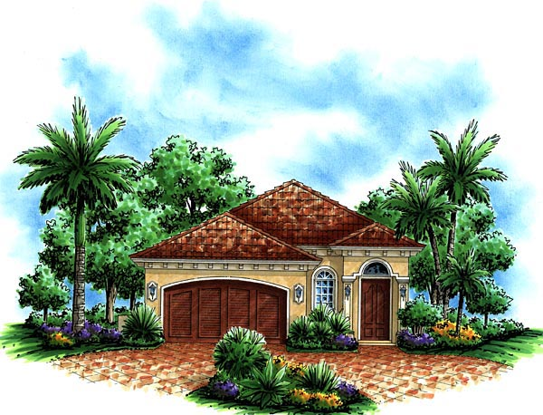 Mediterranean House Plan 60753 with 3 Beds, 2 Baths, 2 Car Garage Elevation