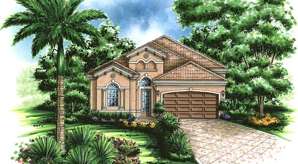 Mediterranean House Plan 60754 with 3 Beds, 3 Baths, 2 Car Garage Elevation