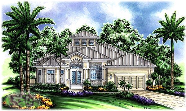 Mediterranean House Plan 60758 with 4 Beds, 3 Baths, 2 Car Garage Elevation