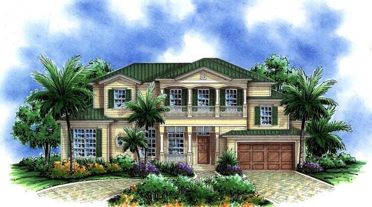 Florida, Mediterranean House Plan 60765 with 3 Beds, 4 Baths, 2 Car Garage Front Elevation