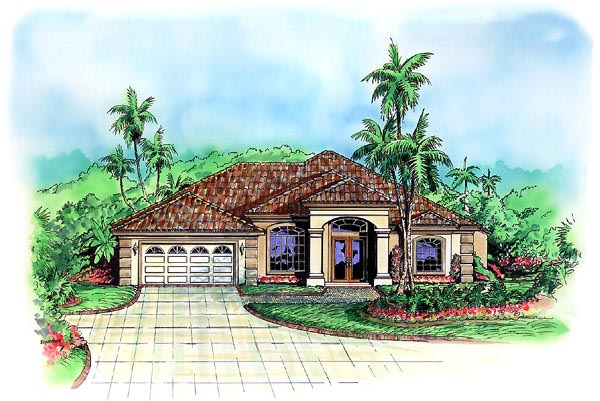 Florida House Plan 60773 with 3 Beds, 3 Baths, 2 Car Garage Elevation