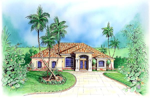Florida House Plan 60774 with 4 Beds, 3 Baths, 3 Car Garage Elevation