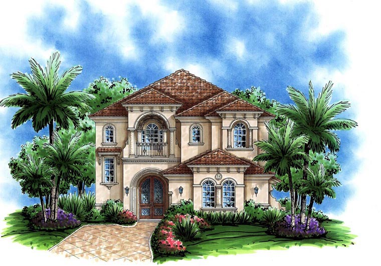 Florida, Mediterranean House Plan 60795 with 3 Beds, 4 Baths, 2 Car Garage Front Elevation