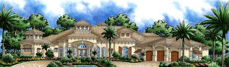Florida, Mediterranean House Plan 60796 with 3 Beds, 5 Baths, 3 Car Garage Front Elevation