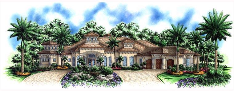 Florida, Mediterranean House Plan 60797 with 3 Beds, 5 Baths, 3 Car Garage Elevation