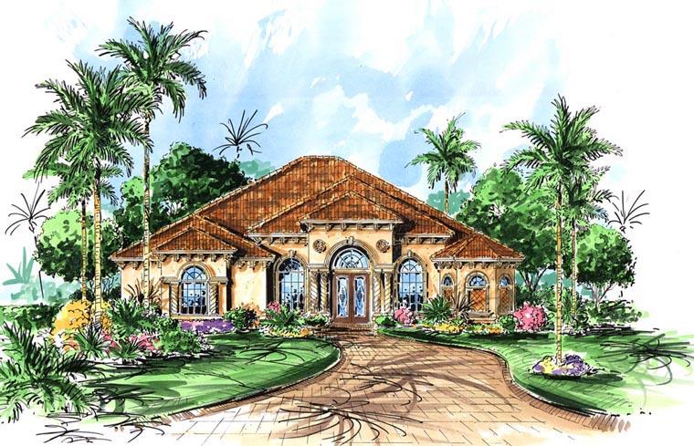Florida, Mediterranean House Plan 60799 with 3 Beds, 3 Baths, 3 Car Garage Front Elevation
