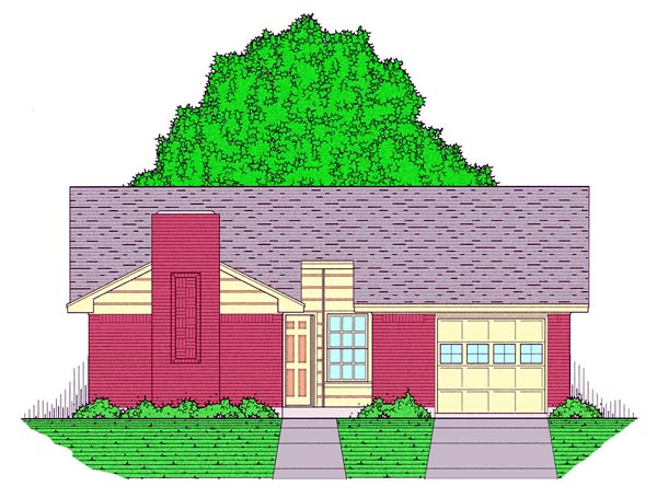Country, Ranch, Traditional House Plan 60803 with 3 Beds, 2 Baths, 1 Car Garage Elevation