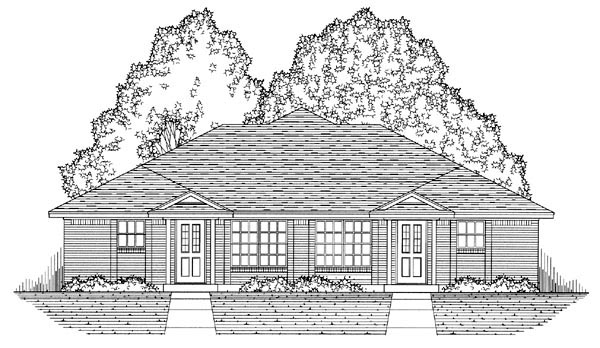 Country, Narrow Lot, Ranch, Traditional Multi-Family Plan 60816 with 4 Beds, 4 Baths, 4 Car Garage Picture 4