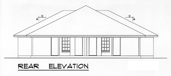 Country, Narrow Lot, Ranch, Traditional Multi-Family Plan 60816 with 4 Beds, 4 Baths, 4 Car Garage Rear Elevation