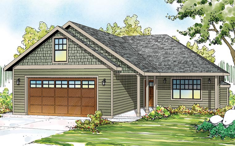 Cottage, Country, Ranch, Traditional House Plan 60900 with 3 Beds, 2 Baths, 2 Car Garage Elevation