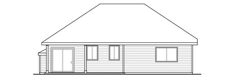 Cottage, Country, Ranch, Traditional House Plan 60900 with 3 Beds, 2 Baths, 2 Car Garage Rear Elevation