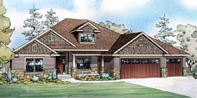 Contemporary Country Craftsman Ranch House Plan 60901 Elevation