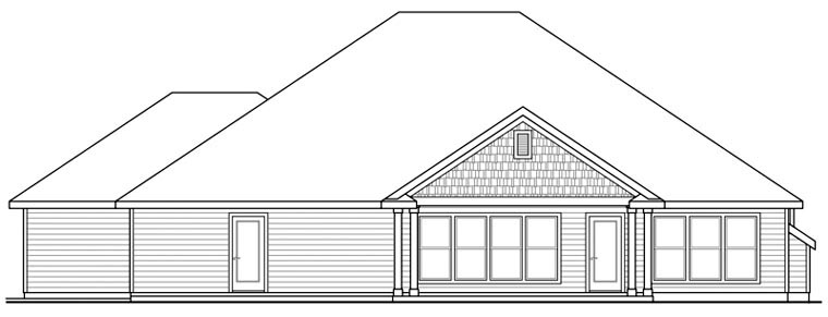 Contemporary Country Craftsman Ranch House Plan 60901 Rear Elevation
