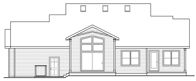 Contemporary Country Craftsman Ranch House Plan 60902 Rear Elevation