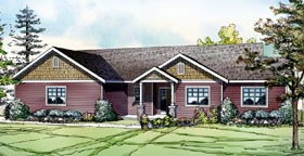 House Plan 60903 | Country Craftsman Ranch Style Plan with 1639 Sq Ft, 3 Bedrooms, 2 Bathrooms, 2 Car Garage Elevation