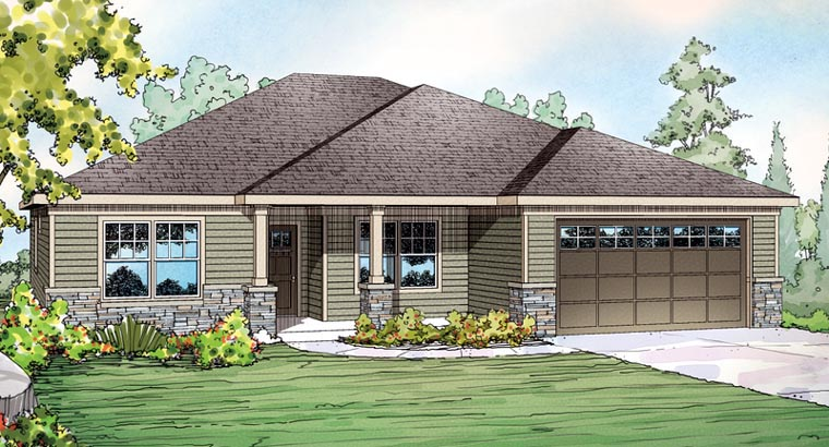 Contemporary Craftsman Ranch House Plan 60904 Elevation