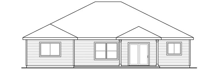 Contemporary Craftsman Ranch House Plan 60904 Rear Elevation
