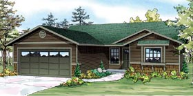Contemporary Country Ranch Traditional House Plan 60905 Elevation