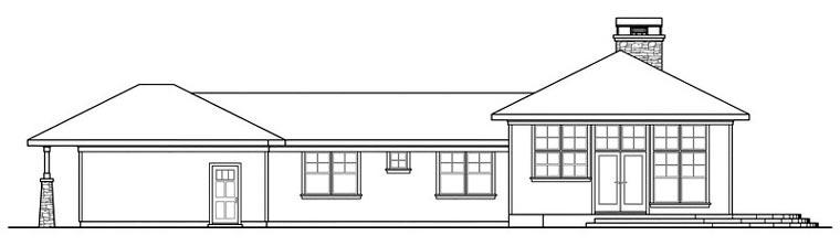 Bungalow Craftsman Florida Ranch House Plan 60906 Rear Elevation