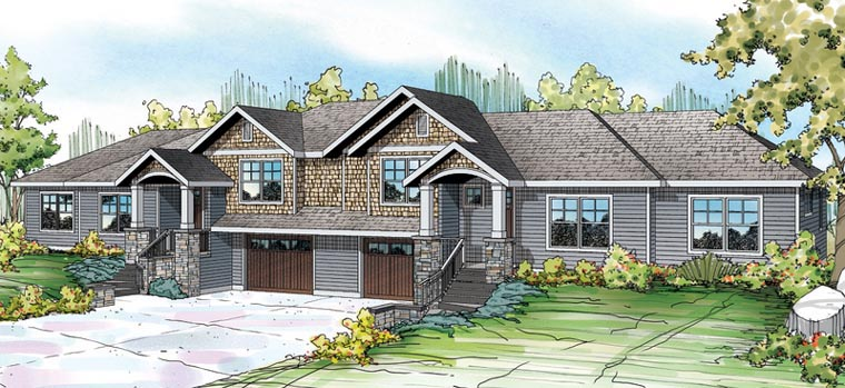 Bungalow Contemporary Cottage Country Craftsman Multi-Family Plan 60910 Elevation