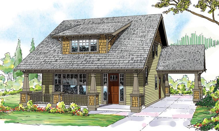 Bungalow Cape Cod Cottage Country Craftsman House Plan 60911 Elevation