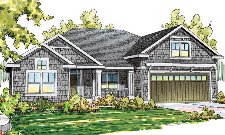 Cape Cod Cottage Craftsman Ranch House Plan 60912 Elevation