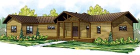 House Plan 60914   Cabin Craftsman Ranch Style Plan with 1591 Sq Ft, 2 Bedrooms, 2 Bathrooms, 2 Car Garage Elevation