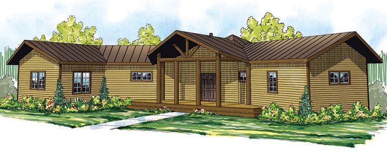 Cabin Craftsman Ranch House Plan 60914 Elevation