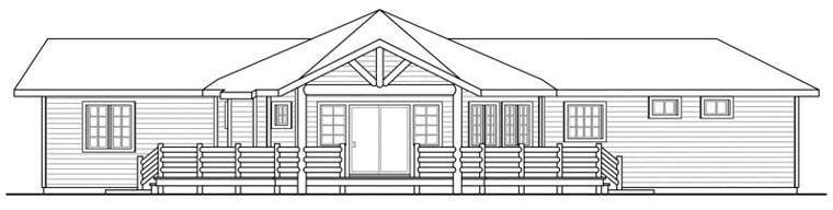 Cabin Craftsman Ranch House Plan 60914 Rear Elevation