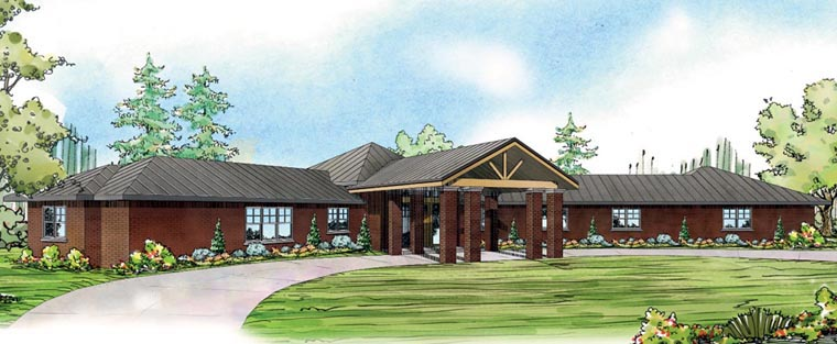 Contemporary Ranch Traditional Tudor House Plan 60916 Elevation
