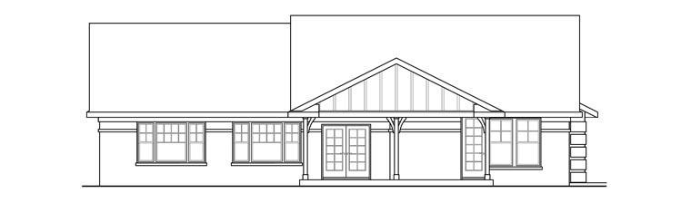 Contemporary Ranch Traditional Tudor House Plan 60917 Rear Elevation