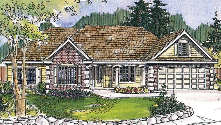 Craftsman Ranch Traditional House Plan 60918 Elevation