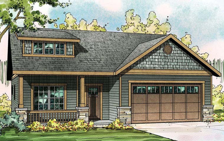 Bungalow Contemporary Craftsman Ranch House Plan 60922