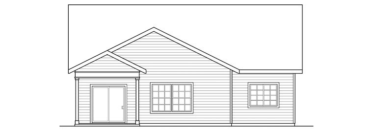 Ranch , Craftsman , Contemporary , Bungalow House Plan 60922 with 3 Beds, 3 Baths, 2 Car Garage Rear Elevation