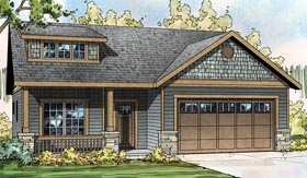 Contemporary Cottage Country Craftsman Ranch House Plan 60923 Elevation