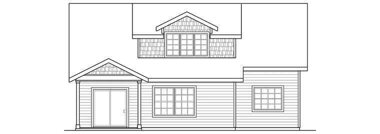 Contemporary Cottage Country Craftsman Ranch House Plan 60923 Rear Elevation