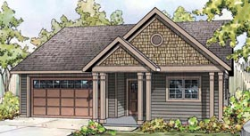 Contemporary Cottage Country Craftsman Ranch House Plan 60924 Elevation