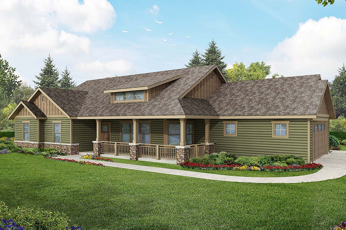 Contemporary Country Craftsman Ranch House Plan 60925 Elevation