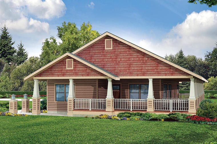 Cottage Country Craftsman Ranch House Plan 60926 Elevation
