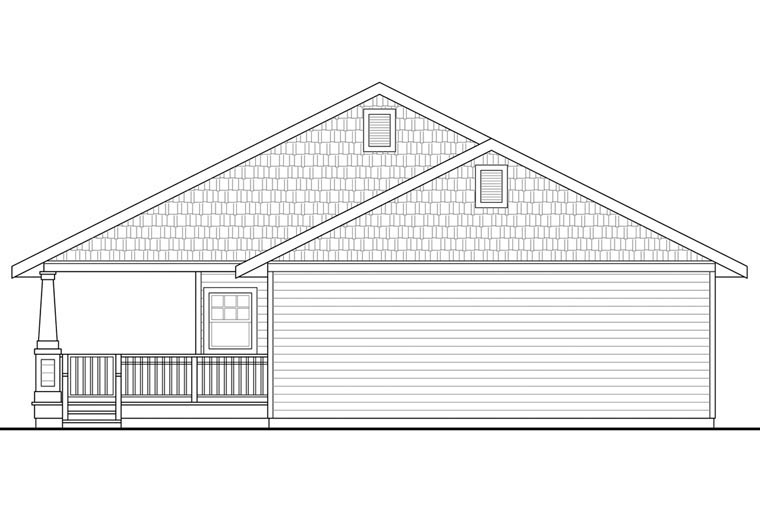 Cottage Country Craftsman Ranch House Plan 60926 Rear Elevation