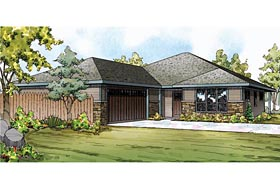 Bungalow Contemporary Craftsman Prairie Style Ranch House Plan 60929 Elevation