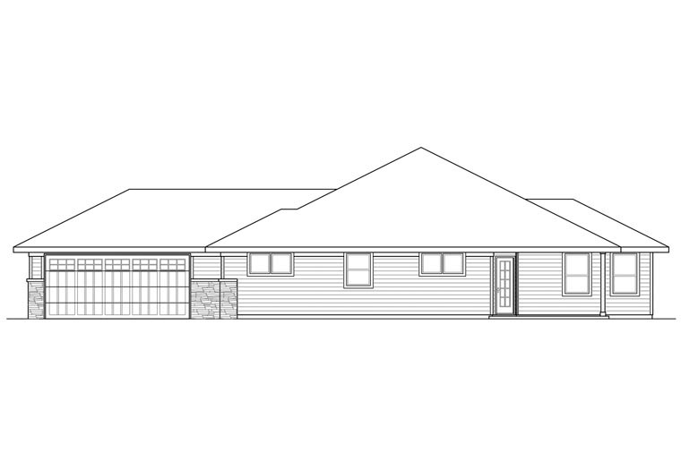 Bungalow Contemporary Craftsman Prairie Style Ranch House Plan 60929