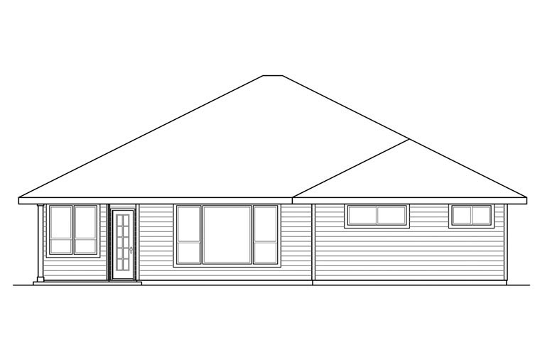 Bungalow Contemporary Craftsman Prairie Style Ranch House Plan 60929 Rear Elevation