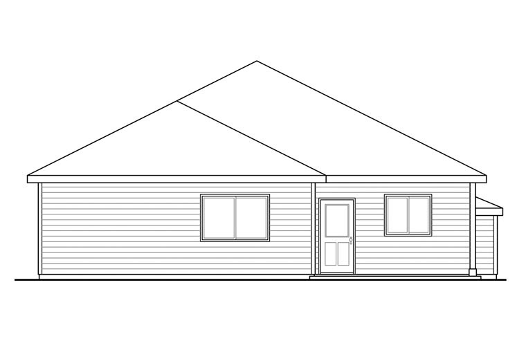 Bungalow Cape Cod Cottage Craftsman House Plan 60930 Rear Elevation
