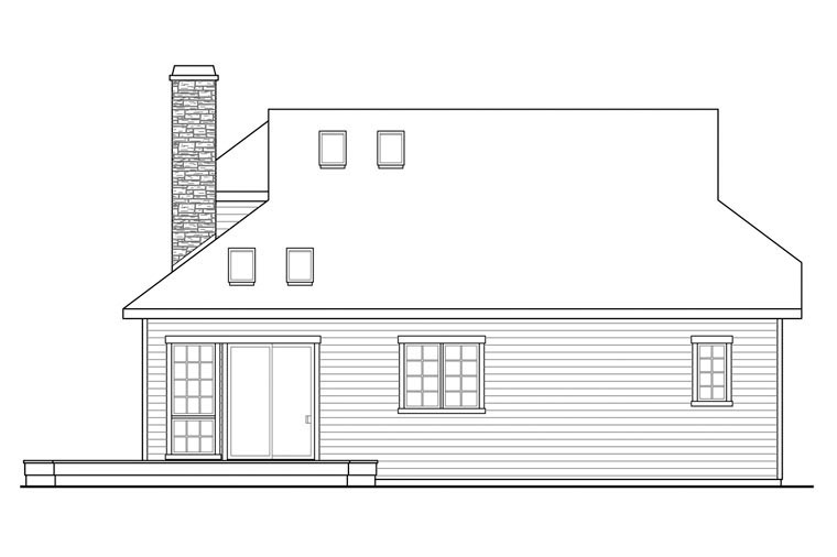 Cape Cod Contemporary Country European Tudor House Plan 60933 Rear Elevation