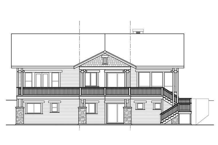 Craftsman European House Plan 60934 Rear Elevation