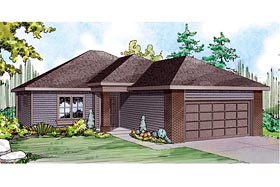 Contemporary Country Ranch Traditional House Plan 60935 Elevation